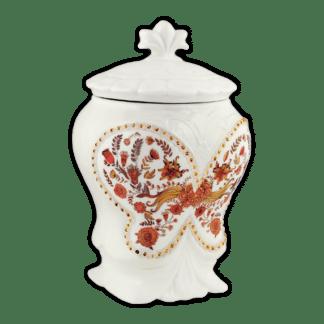 Керамическая чайница ЦВЕТОЧНЫЙ ОРНАМЕНТ Чай с чабрецом 100г