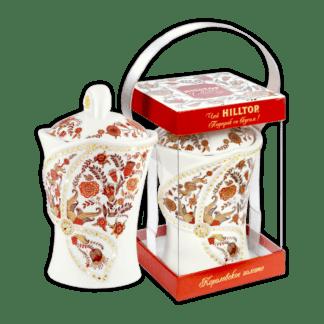 Керамическая чайница ЦВЕТОЧНЫЙ ОРНАМЕНТ Королевское золото 100г